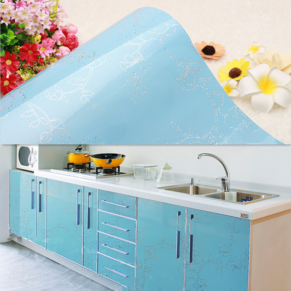 Blue Wallpaper Roll Self Adhesive Contact Paper Drawer Shelf Liner ...