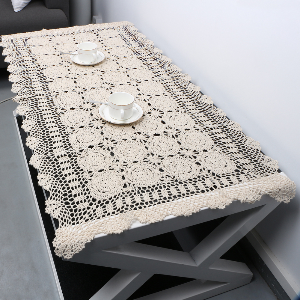 Hand crocheted and Embroidered Tablecloth 63/' Square Table cloth GuestFromThePast Vintage Cotton Lace Tablecloth White Cotton Tablecloth