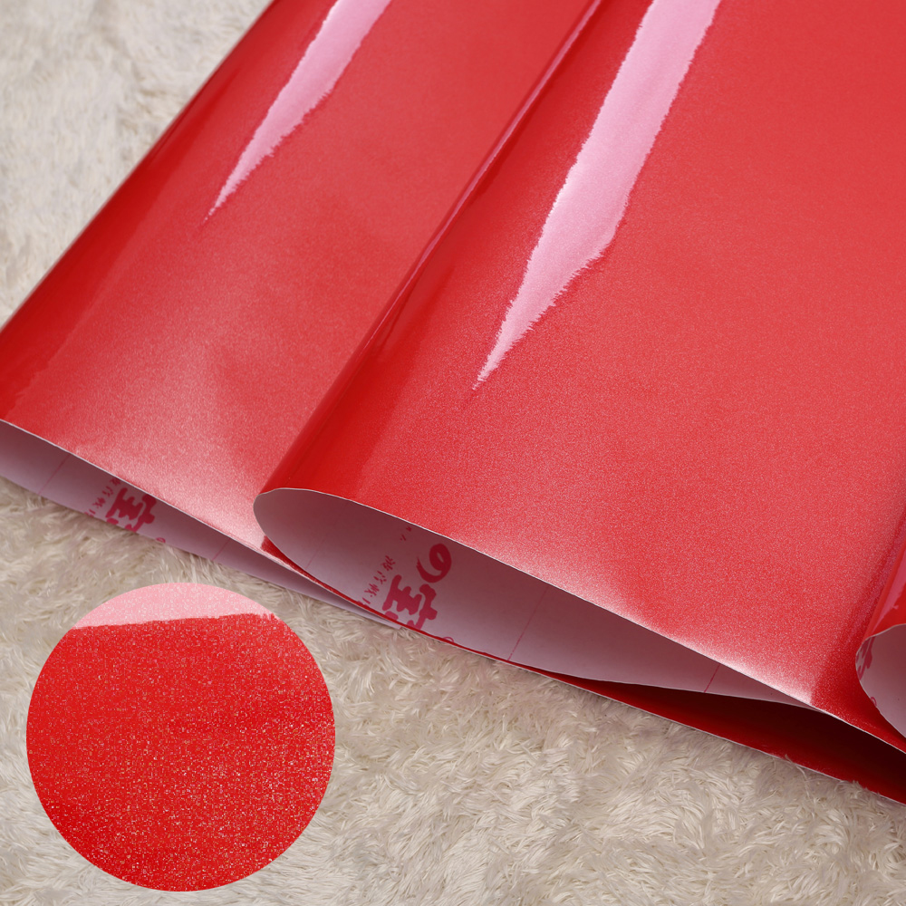 Vinyl Red Glitter Wallpaper Roll Self