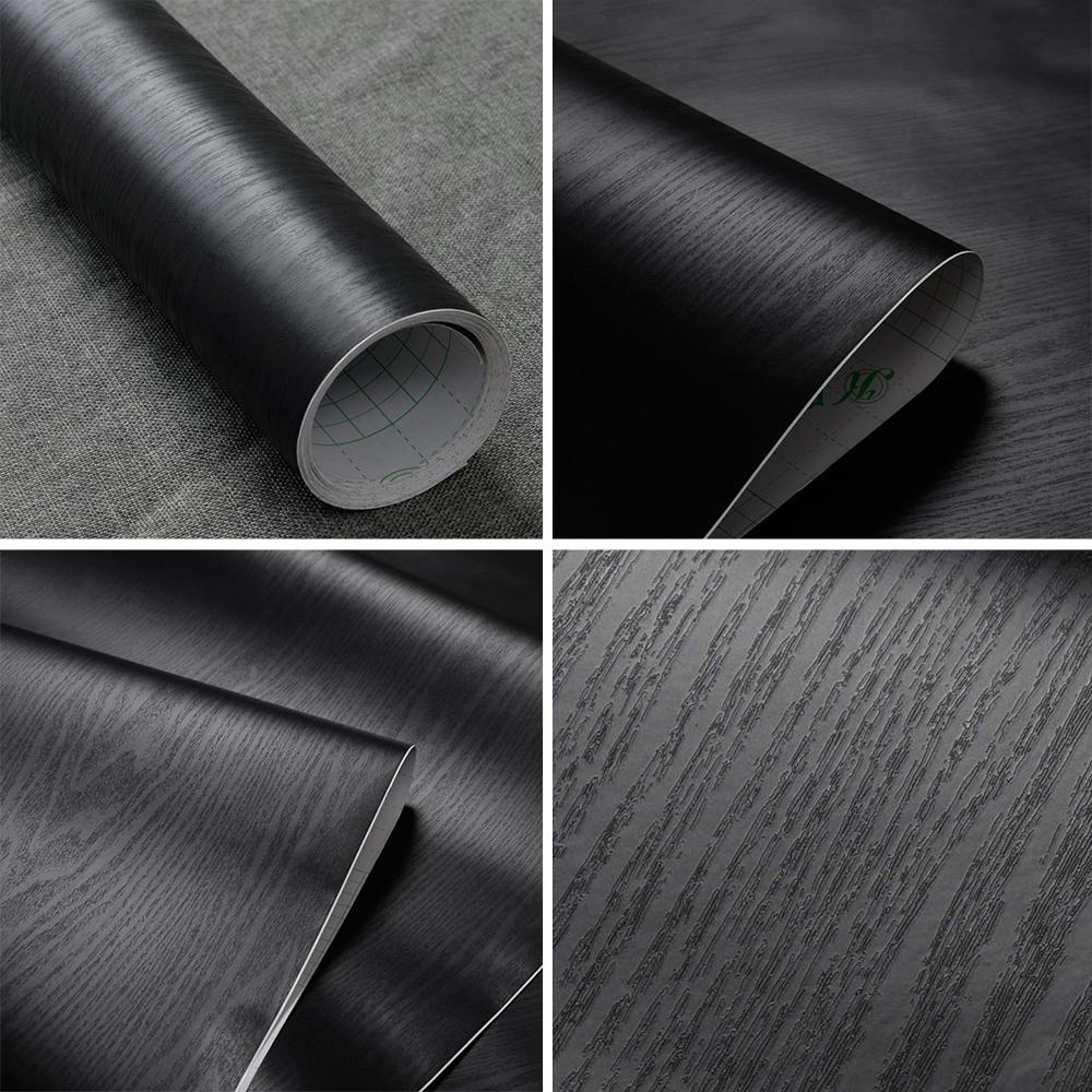 Black Wood Self Adhesive Wallpaper Roll Vinyl Furniture Film Sticker Waterproof