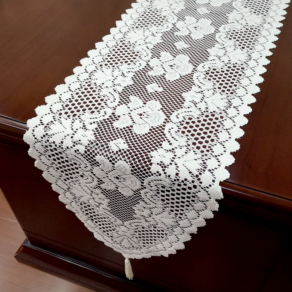"""White Vintage Lace Table Runner Dresser Scarf Oval Doily Wedding Floral 13/""""x70/"""""""